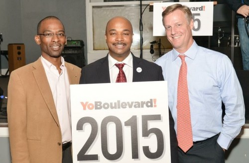 Lion's Jotham Reubel and Gary Martin with Atlanta City Councilmember, Kwanza Hall at the YoBoulevard Kickoff Evening